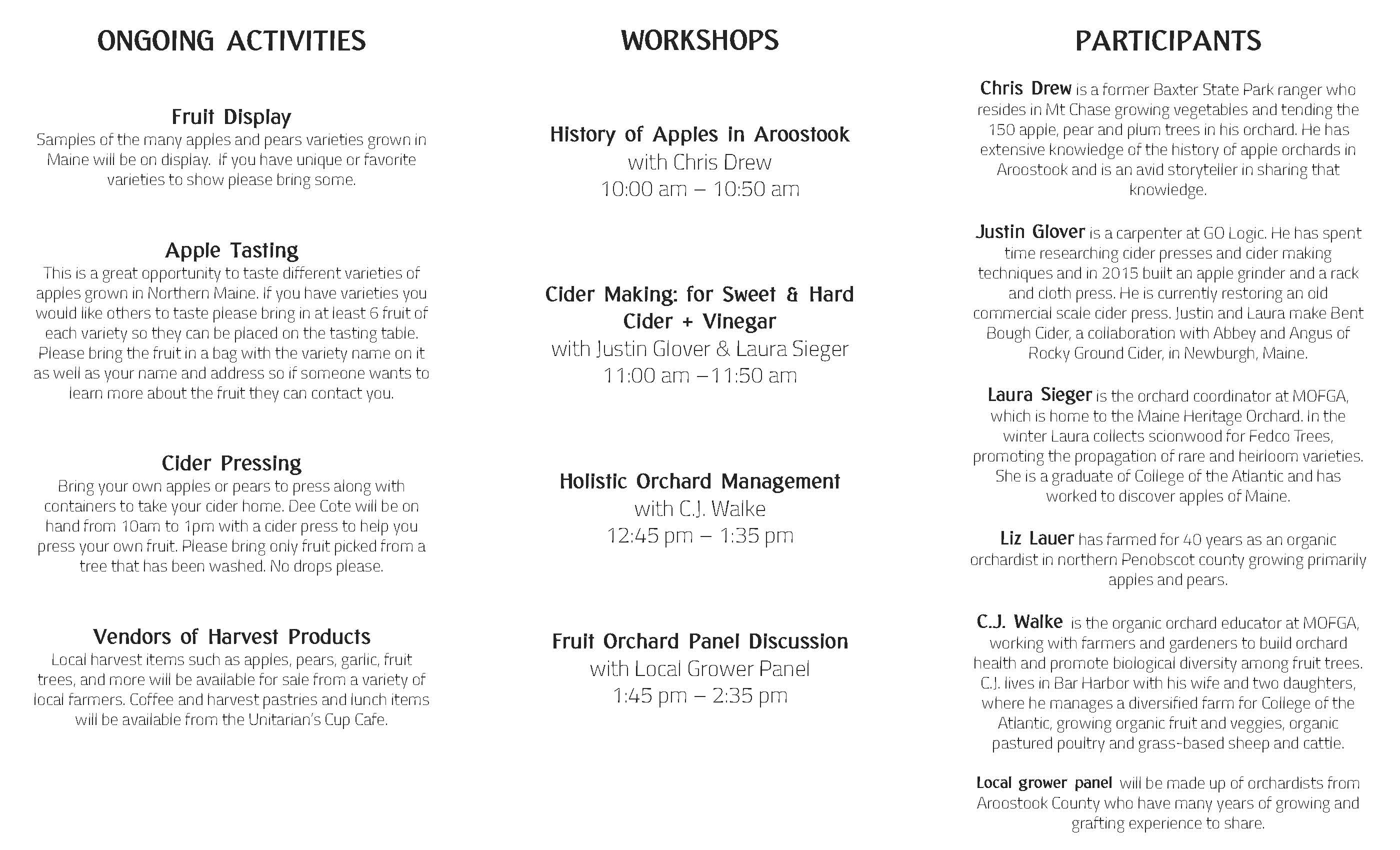 Apple Day Handout Schedule
